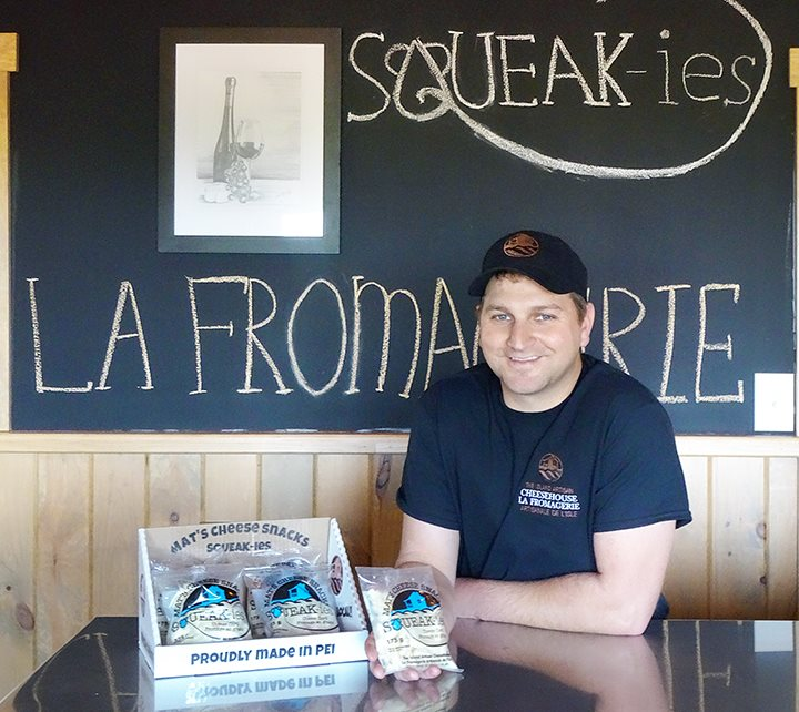 Mathieu Gallant with his Squeak-ies cheese