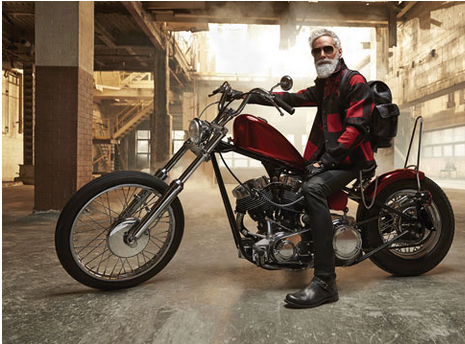 Modern Santa on motorcycle